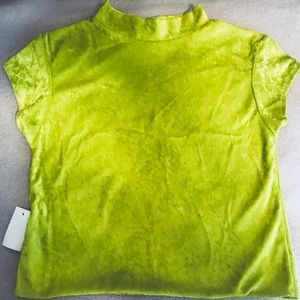 Tops - Bright Lime Green Velvet Mock Neckline Top